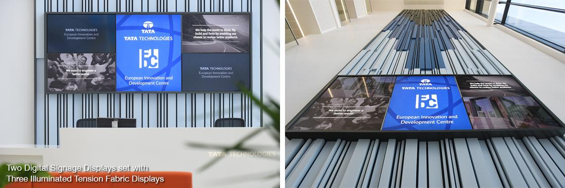 Two Digital Signage Displays set with Three Illuminated Tension Fabric Displays